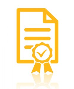 Certified vector icon. Style is flat symbol, yellow color, rounded angles, white background.